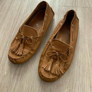 COACH Nadia Driving Loafers Tassel Top Flats Camel